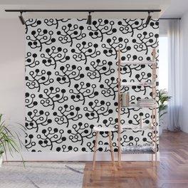 Mid Century Modern Berries Pattern Black & White Wall Mural