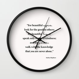 Beautiful quote by Audrey Hepburn Wall Clock