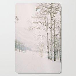 Aspen in snow - Beaver Creek, Colorado Cutting Board