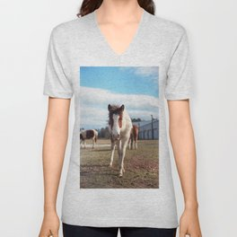 Chincoteague Pony with Blue Eyes - Film Photograph taken in Virginia Unisex V-Neck