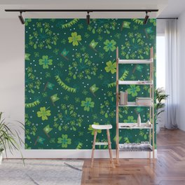 St Patrick's Day Lucky Shamrock Party Wall Mural