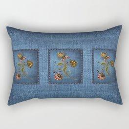 Denim Design With Jacobean Floral Rectangular Pillow