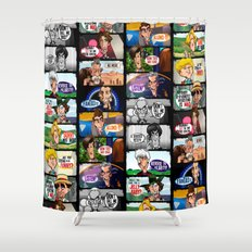 Faces of Who (Black) Shower Curtain