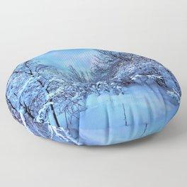 Spectacular Wonderful Snowy Winter Forest Full Moon HD Floor Pillow