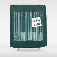 kerouac Shower Curtains featuring The Only Truth is Music by amejean