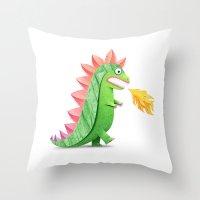 godzilla Throw Pillows featuring Godzilla by Keyspice