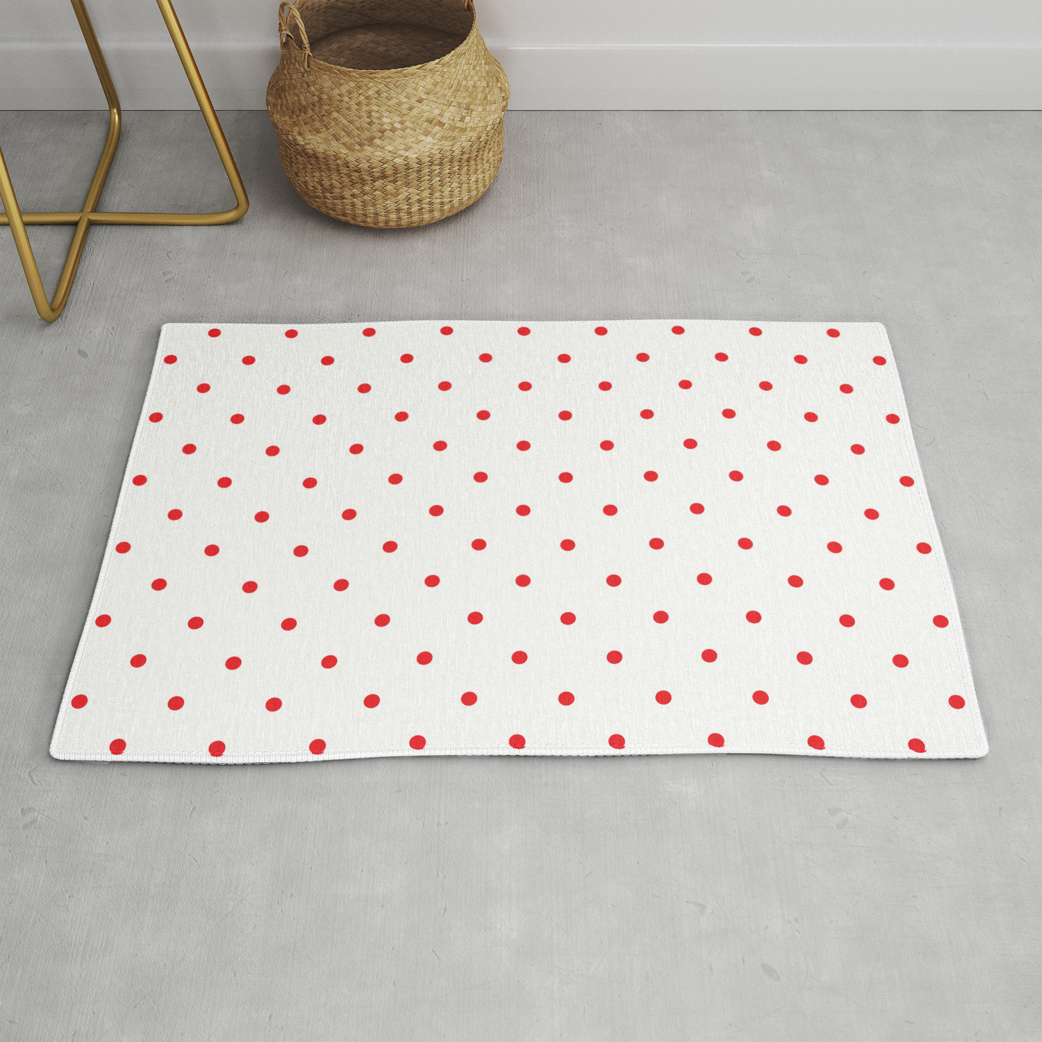 Small Red Polka Dots Rug By