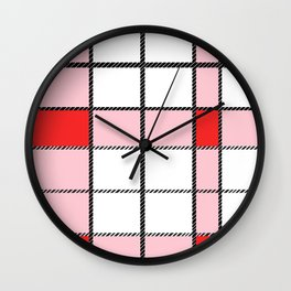 Red Plaid Wall Clock