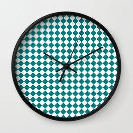 Small Diamonds - White and Dark Cyan Wall Clock