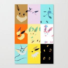 Eevee evolutions square- Eeeveelutions PKMN Canvas Print