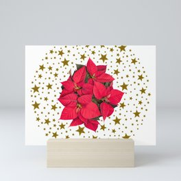 Red Christmas flower and sparkly gold stars Mini Art Print