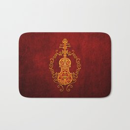 Aged Vintage Red and Yellow Tribal Violin Design Bath Mat