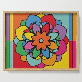 Happy Colorful Mandala Flower Illustration Serving Tray