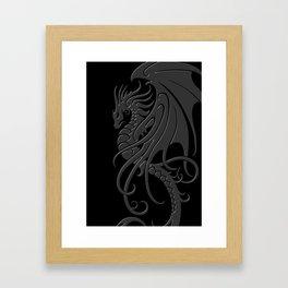 Flying Gray and Black Tribal Dragon Framed Art Print