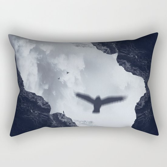 spaces xvii - cave mouth with bird Rectangular Pillow