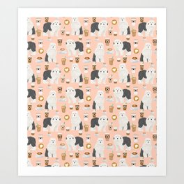 Old English Sheepdog gifts for dog lover with dog breed pet portraits by pet friendly Art Print