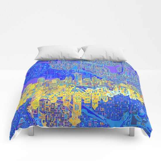 seattle city skyline Comforters