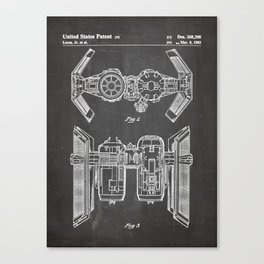 Starwars Tie Bomber Patent - Tie Bomber Art - Black Chalkboard Canvas Print