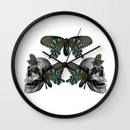 Butterflies on Skulls #1 Wall Clock