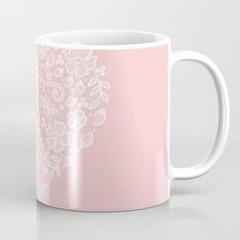 Millennial Pink Blush Rose Quartz Hearts Lace Flowers Pattern Coffee Mug