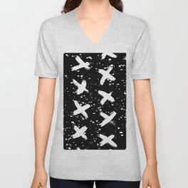 X Paint Spatter Black and White Unisex V-Neck