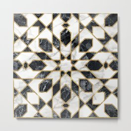 Black and white marble Moroccan mosaic Metal Print
