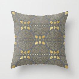 Gold Outline Art Deco Fan Throw Pillow