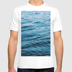 Calm Waters White MEDIUM Mens Fitted Tee