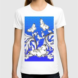 WHITE BUTTERFLIES FLUTTERING WITH BAROQUE FLORAL T-shirt
