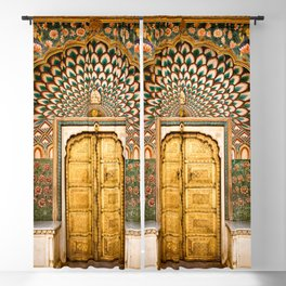 Lotus gate door in pink city at City Palace of Jaipur, India Blackout Curtain