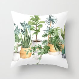 Watercolor house plants potted plants Throw Pillow