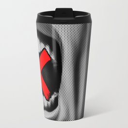 Code of Silence / Halftone portrait of silenced shouting CG man Travel Mug