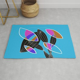 4 colors Organic objects on Blue - White Lines Rug