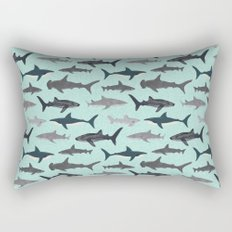 Sharks nature animal illustration texture print marine biologist sea life ocean Andrea Lauren Rectangular Pillow