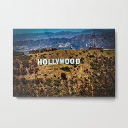 Hollywood Sign, Los Angeles, California, mountains, Griffith Park , USA, Cities, Skyline Metal Print