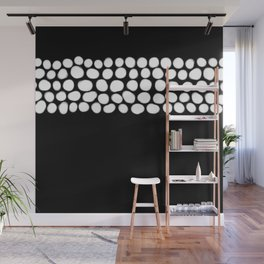 Soft White Pearls on Black Wall Mural