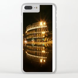 Colosseum reflection at night Clear iPhone Case
