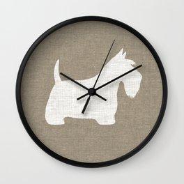 White Scottish Terrier Silhouette Wall Clock
