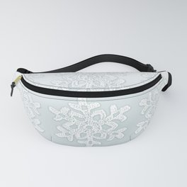 Crocheted Snowflake Ornaments on teal mist Fanny Pack