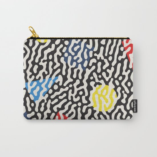 Retro Jumble Black and White Drips And Color Polygons Pattern Abstract Seamless Background Carry-All Pouch