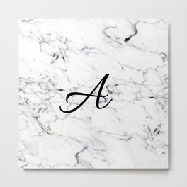 Letter A on Marble texture Initial personalized monogram Metal Print