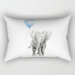 Baby Animal Elephant Watercolor Blue Balloon Baby Boy Nursery Room Decor Rectangular Pillow