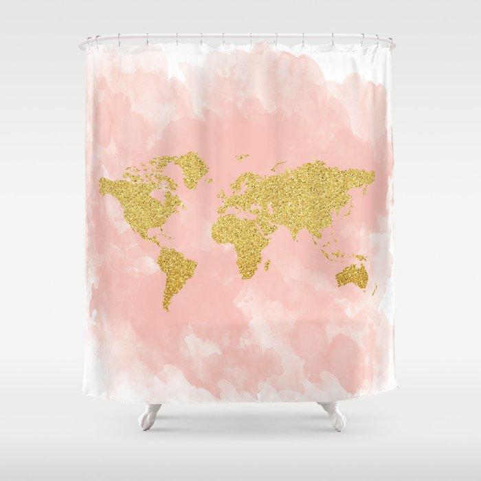 Gold Glitter Map Nursery Art Pink Pastels Shower Curtain