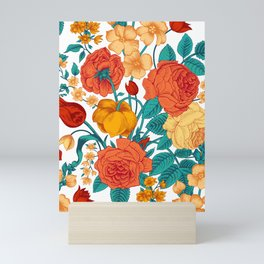 Vintage flower garden Mini Art Print