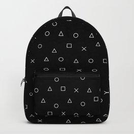 black gaming pattern - gamer design - playstation controller symbols Backpack