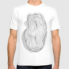 Waves MEDIUM White Mens Fitted Tee