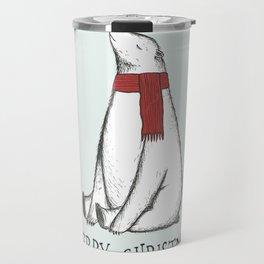 Sleepy Christmas Polar Bear Travel Mug