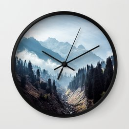 VALLEY - MOUNTAINS - TREES - RIVER - PHOTOGRAPHY - LANDSCAPE Wall Clock