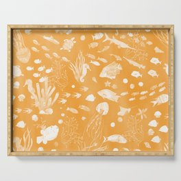 Watercolor Seascape in Deep Golden Yellow Serving Tray