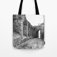 spain Tote Bags featuring Castellar, Spain by Simon Ede Photography